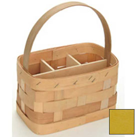"Large Rectangle 11"" x 7"" Silverware Wood Basket with Wood Handle & Sections 4 Pc Lemon Package Count 4 by"