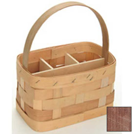 "Large Rectangle 11"" x 7"" Silverware Wood Basket with Wood Handle & Sections 4 Pc Mahogany Package Count 4 by"