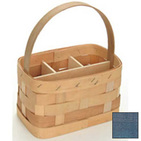 "Large Rectangle 11"" x 7"" Silverware Wood Basket with Wood Handle & Sections 4 Pc Navy Package Count 4 by"