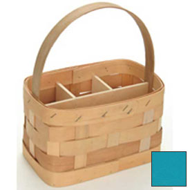 "Large Rectangle 11"" x 7"" Silverware Wood Basket with Wood Handle & Sections 4 Pc Ocean Package Count 4 by"