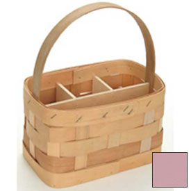 "Large Rectangle 11"" x 7"" Silverware Wood Basket with Wood Handle & Sections 4 Pc Pink Package Count 4 by"
