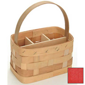"Large Rectangle 11"" x 7"" Silverware Wood Basket with Wood Handle & Sections 4 Pc Red Package Count 4 by"