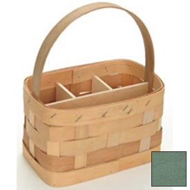 "Large Rectangle 11"" x 7"" Silverware Wood Basket with Wood Handle & Sections 4 Pc Sage Package Count 4 by"