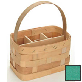 "Large Rectangle 11"" x 7"" Silverware Wood Basket with Wood Handle & Sections 4 Pc Spearmint Package Count 4 by"