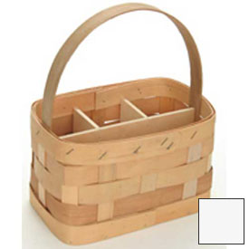 "Large Rectangle 11"" x 7"" Silverware Wood Basket with Wood Handle & Sections 4 Pc White Package Count 4 by"