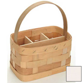 "Large Rectangle 11"" x 7"" Silverware Wood Basket with Wood Handle & Sections 4 Pc White Stain Package Count 4 by"