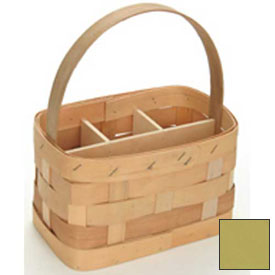 "Large Rectangle 11"" x 7"" Silverware Wood Basket with Wood Handle & Sections 4 Pc Yellow Package Count 4 by"
