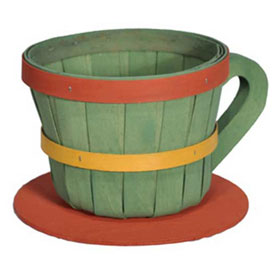 Click here to buy 1/4 Peck Coffee Cup Wood Basket with Side Handle 4 Pc Natural Package Count 4.