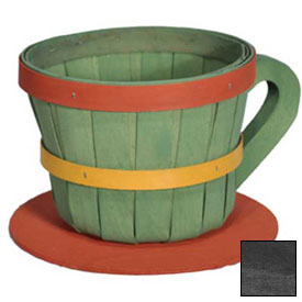 1/4 Peck Coffee Cup Wood Basket with Side Handle 4 Pc Black by