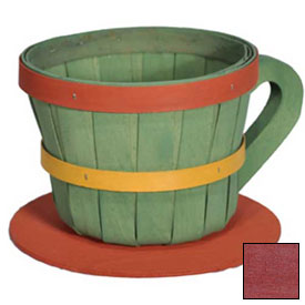 Click here to buy 1/4 Peck Coffee Cup Wood Basket with Side Handle 4 Pc Cranberry Package Count 4.