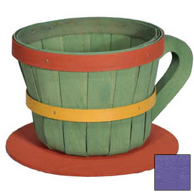 Click here to buy 1/4 Peck Coffee Cup Wood Basket with Side Handle 4 Pc Eggplant Package Count 4.