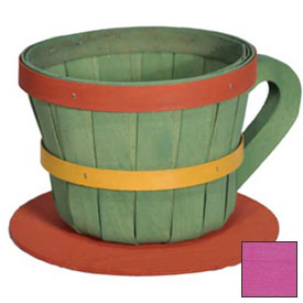 Click here to buy 1/4 Peck Coffee Cup Wood Basket with Side Handle 4 Pc Fuschia Package Count 4.