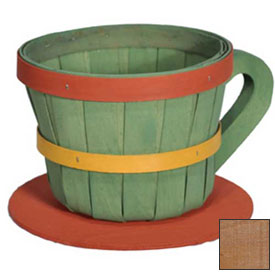 Click here to buy 1/4 Peck Coffee Cup Wood Basket with Side Handle 4 Pc Honey Stain Package Count 4.