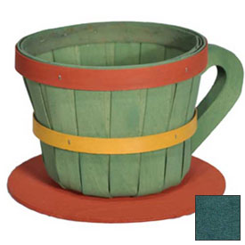1/4 Peck Coffee Cup Wood Basket with Side Handle 4 Pc Hunter Green by