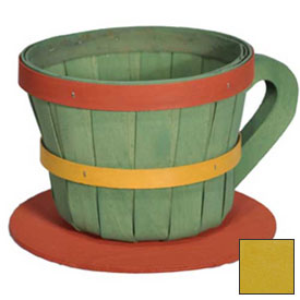 1/4 Peck Coffee Cup Wood Basket with Side Handle 4 Pc Lemon by