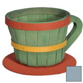 Click here to buy 1/4 Peck Coffee Cup Wood Basket with Side Handle 4 Pc Light Blue Package Count 4.