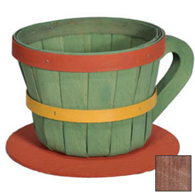 1/4 Peck Coffee Cup Wood Basket with Side Handle 4 Pc Mahogany Stain by