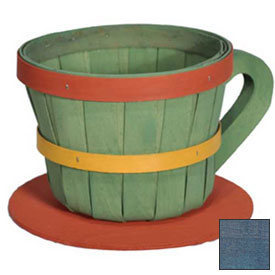 Click here to buy 1/4 Peck Coffee Cup Wood Basket with Side Handle 4 Pc Navy Package Count 4.