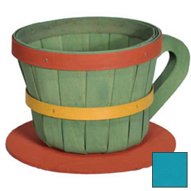 1/4 Peck Coffee Cup Wood Basket with Side Handle 4 Pc Ocean Package Count 4 by