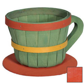 Click here to buy 1/4 Peck Coffee Cup Wood Basket with Side Handle 4 Pc Orange Package Count 4.