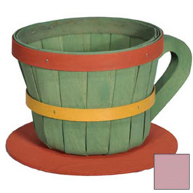 1/4 Peck Coffee Cup Wood Basket with Side Handle 4 Pc Pink by