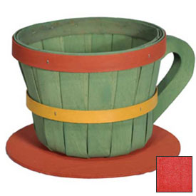 Click here to buy 1/4 Peck Coffee Cup Wood Basket with Side Handle 4 Pc Red Package Count 4.