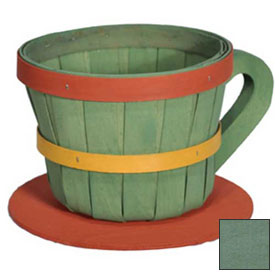 Click here to buy 1/4 Peck Coffee Cup Wood Basket with Side Handle 4 Pc Sage Package Count 4.