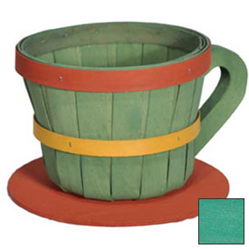 Click here to buy 1/4 Peck Coffee Cup Wood Basket with Side Handle 4 Pc Spearmint Package Count 4.