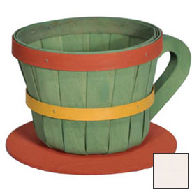 1/4 Peck Coffee Cup Wood Basket with Side Handle 4 Pc White Stain by