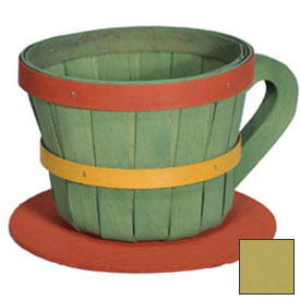 Click here to buy 1/4 Peck Coffee Cup Wood Basket with Side Handle 4 Pc Yellow Package Count 4.
