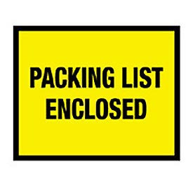 "Yellow Packing List Enclosed - Full Face 7"" x 5-1/2"" - 1000 Pack"