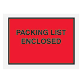 "Red Packing List Enclosed - Full Face 4-1/2"" x 6"" - 1000 Pack"