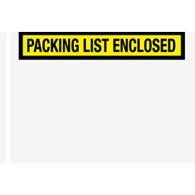 """Yellow Packing List Enclosed - Panel Face 6-3/4"""" x 5"""" - 1000 Pack"""
