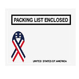 "USA w/Ribbon Packing List Enclosed - Panel Face 4-1/2"" x 5-1/2"" - 1000 Pack"
