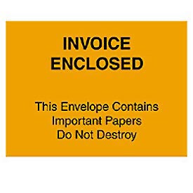 "Orange Invoice Enclosed - Full Face 4-1/2"" x 6"" - 1000 Pack"