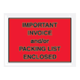 "Red Important Invoice and/or Packing List Enclosed - Full Face 4-1/2"" x 6"" - 1000 Pack"