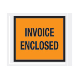 "Orange Invoice Enclosed - Full Face 4-1/2"" x 5-1/2"" - 1000 Pack"