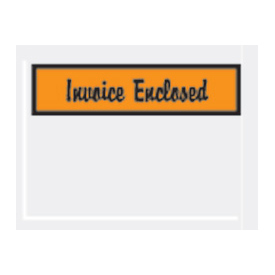 "Orange Invoice Enclosed - Panel Face 4-1/2"" x 6"" - 1000 Pack"