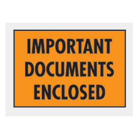 "Orange Important Documents Enclosed - Full Face 5-1/4"" x 7-1/2"" - 1000 Pack"