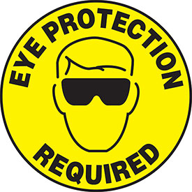 """Accuform MFS200 Eye Protection Required Floor Sign, 17"""" Diameter, Adhesive..."""