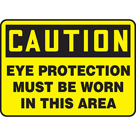 """Accuform MPPA605VS Caution Sign, Eye Protection Must Be Worn..., 10""""W x 7""""H, Adhesive Vinyl by"""
