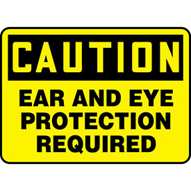 """Accuform MPPA608VP Caution Sign, Ear And Eye Protection Required, 14""""W x..."""
