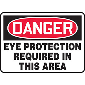 """Accuform MPPE011VP Danger Sign, Eye Protection Required In This Area, 10""""W x 7""""H, Plastic by"""