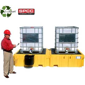 UltraTech Ultra-Twin IBC Spill Pallet® 1141 - No Drain - with 1 Right Side Bucket Shelf