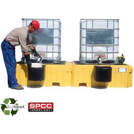 UltraTech Ultra-Twin IBC Spill Pallet® 1147 - with Drain & 2 Bucket Shelves
