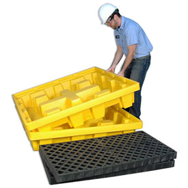 UltraTech Ultra-Spill Pallet® 1231 P4 - Nestable - Yellow with Drain