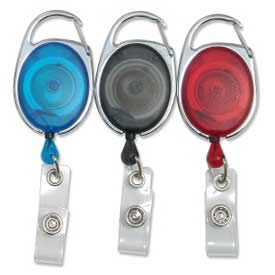 "Baumgartens® Quick Clip ID Card Reel, 30"" Cord, Black/Blue/Red, 3/Pack"