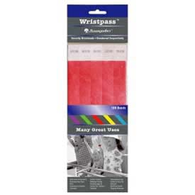 "Baumgartens Wristpass Security Wrist Bands, 10"" x 3/4"", Red, 100 Bands/Pack by"