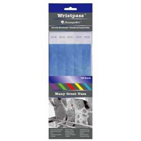 "Baumgartens Wristpass Security Wrist Bands, 10"" x 3/4"", Blue, 100 Bands/Pack by"