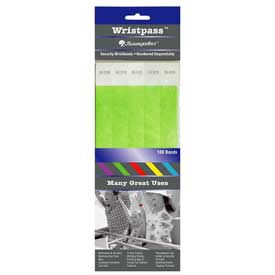"Baumgartens Wristpass Security Wrist Bands, 10"" x 3/4"", Green, 100 Bands/Pack by"